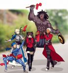 2girls 3boys ahoge archer armor armored_dress artoria_pendragon_(all) berserker black_hair black_legwear black_skirt blonde_hair blue_bodysuit blue_hair bodysuit bracer coat commentary_request covering_ears dark_skin dark_skinned_male dress drum erhu faceless fate/stay_night fate_(series) gauntlets hair_bun hair_ribbon instrument lancer long_hair long_sleeves meme multiple_boys multiple_girls music pauldrons playing_instrument ponytail red_coat ribbon saber scathach_(fate)_(all) short_hair shoulder_armor skirt suona thigh-highs tohsaka_rin trench_coat trumpet_boy twintails two_side_up white_hair yaoshi_jun zettai_ryouiki