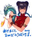 1girl 2012 :d akeome bare_shoulders black_hair breasts breathing_fire brown_eyes china_dress chinese_clothes chinese_zodiac commentary_request copyright_request dated double_bun dragon dress eastern_dragon fire hands_up happy_new_year large_breasts looking_at_viewer new_year open_mouth red_dress short_hair simple_background smile solo tetsu_(kimuchi) translated white_background wristband year_of_the_dragon
