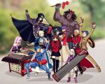 4boys 6+girls ahoge anger_vein archer armor armored_dress artoria_pendragon_(all) bangs bare_shoulders berserker black_gloves black_hair black_legwear black_skirt blindfold blonde_hair blue_bodysuit blue_hair blurry bodysuit bow bracer cape caster child cloak coat collar commentary_request covering_ears dark_skin dark_skinned_male depth_of_field detached_sleeves dizi dress drum erhu faceless facial_mark fate/stay_night fate_(series) forehead_mark gauntlets gloves hair_bow hair_bun hair_ribbon hat homurahara_academy_uniform hood hooded_cloak instrument lancer long_hair long_skirt long_sleeves matou_sakura matou_shinji meme motion_lines multiple_boys multiple_girls music open_mouth parody pauldrons pink_footwear pink_hair pipa_(instrument) playing_instrument ponytail purple_hair purple_ribbon red_bow red_coat ribbon rider saber school_uniform short_hair shoulder_armor sitting skirt strapless strapless_dress suona tagme thigh-highs tohsaka_rin trench_coat trumpet trumpet_boy twintails two_side_up white_hair white_skirt yaoshi_jun zettai_ryouiki