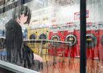 1girl bangs black_hair black_hoodie brown_eyes eyebrows_visible_through_hair from_outside hood hood_down hoodie indoors laundromat laundry long_sleeves looking_at_viewer looking_out_window looking_to_the_side original sakeharasu short_hair sitting solo washing_machine window window_writing