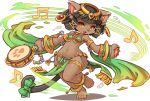 1girl animal_ears anklet armlet bastet_(fullbokko_heroes) beamed_sixteenth_notes bikini_top black_hair cat_ears cat_tail drum earrings eighth_note fullbokko_heroes fur furry holding instrument jewelry loincloth musical_note navel original paw_print pelvic_curtain shigatake short_hair simple_background solo sweat tail thigh_strap white_background wide_hips yellow_eyes