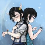 2girls back-to-back bare_arms bare_shoulders black_hair blue_background blue_dress bug closed_mouth collared_shirt commentary_request cyclops dragonfly dress dress_shirt ebimomo flower hair_flower hair_ornament hand_on_own_chest hand_up highres horns insect insect_on_finger ladybug low_twintails multiple_girls one-eyed original shirt short_sleeves skirt smile suspender_skirt suspenders twintails violet_eyes white_shirt wing_collar yellow_flower