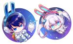 1boy 1girl animal_ears astronaut_helmet blue_hair chibi chilling_hedgehog_(elsword) ciel_(elsword) demon_girl demon_horns demon_tail earrings elsword highres horns jewelry luciela_r._sourcream mellchi rabbit_ears spacesuit star star-shaped_pupils symbol-shaped_pupils tail twintails white_hair