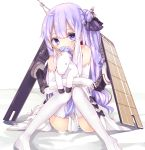 1girl ahoge azur_lane bangs bare_shoulders bed_sheet black_bow black_ribbon blush bow commentary_request covered_mouth dress elbow_gloves eyebrows_visible_through_hair gloves hair_between_eyes hair_bun hair_ribbon head_tilt highres knees_together_feet_apart long_hair looking_at_viewer no_shoes object_hug one_side_up panties purple_hair ribbon side_bun sitting solo striped striped_panties stuffed_alicorn stuffed_animal stuffed_toy thigh-highs thighs underwear unicorn_(azur_lane) very_long_hair violet_eyes white_dress white_gloves white_legwear yunekoko