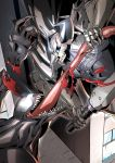 2boys armor black_cloak blood building commentary_request crossover dismemberment eiri_(eirri) fate/grand_order fate_(series) glowing glowing_eyes horns king_hassan_(fate/grand_order) long_tongue marvel multiple_boys open_mouth sharp_teeth skull skull_mask spider-man_(series) spikes sword symbiote teeth tongue tongue_out venom_(marvel) weapon