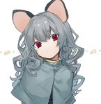 ... 1girl alternate_hair_length alternate_hairstyle animal_ears bangs black_vest capelet cheese commentary daimaou_ruaeru eyebrows_visible_through_hair eyes_visible_through_hair food grey_capelet grey_hair hair_between_eyes head_tilt highres long_hair looking_at_viewer mouse_ears nazrin red_eyes simple_background solo thick_eyebrows touhou upper_body vest wavy_hair white_background