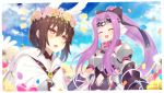 2girls :d :o ^_^ bangs bare_shoulders belt_buckle belt_collar black_bow black_dress blue_flower blue_sky blush bow breastplate breasts brown_hair brown_rose buckle cloak closed_eyes closed_eyes clouds cloudy_sky collarbone commentary_request day dress eyebrows_visible_through_hair fang fate/grand_order fate_(series) field flower flower_field flower_wreath hair_between_eyes hair_bow hair_flower hair_ornament head_wings head_wreath high_ponytail highres hood hood_down hooded_cloak kaina_(tsubasakuronikuru) long_hair medusa_(lancer)_(fate) multiple_girls navel navel_cutout notice_lines open_mouth ortlinde_(fate/grand_order) outdoors parted_bangs petals pink_flower pink_rose ponytail purple_flower purple_hair red_collar red_eyes rider rose sidelocks sky sleeveless sleeveless_dress small_breasts smile valkyrie_(fate/grand_order) very_long_hair viewfinder white_cloak white_wings wings yellow_flower yellow_rose