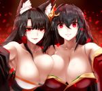 2girls absurdres ahoge akagi_(azur_lane) animal_ears armpit_peek asymmetrical_docking azur_lane bangs bare_shoulders black_hair black_kimono blunt_bangs blush breast_press breasts cleavage collarbone eyebrows_visible_through_hair eyeliner eyeshadow fox_ears hair_between_eyes hair_ornament highres japanese_clothes kimono kitsune large_breasts long_hair looking_at_viewer makeup minarai_tenna multiple_girls parted_lips red_eyes smile taihou_(azur_lane) wide_sleeves yandere