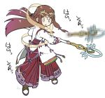 1girl black_hair blush fan_la_norne feather_hair kasumi_(xenoblade_2) long_hair multiple_girls niameresp nintendo redhead short_hair smile solo staff weapon xenoblade_(series) xenoblade_2 xenoblade_2:_ogon_no_kuri_ira yellow_eyes