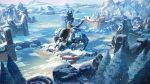 highres ice mecha mountain no_humans ocean original outdoors scenery snow snowing tree xian_yueyueyue