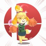 1girl animal_ears bell blonde_hair blush blush_stickers breasts dog dog_ears dog_girl dog_tail doubutsu_no_mori furry hair_ornament highres nintendo open_mouth sarukaiwolf shizue_(doubutsu_no_mori) skirt smile solo super_smash_bros. super_smash_bros_ultimate tail topknot