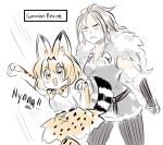 2girls animal animal_ears aubz blonde_hair braid cape extra_ears fur_trim gameplay_mechanics gloves h'aanit_(octopath_traveler) highres kemono_friends long_hair multiple_girls octopath_traveler open_mouth ponytail serval serval_(kemono_friends) serval_ears serval_print serval_tail shirt simple_background single_braid sleeveless sleeveless_shirt striped_tail tail