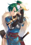 1girl bangs belt blue_dress breastplate breasts brown_gloves closed_mouth dress elbow_gloves feathers fingerless_gloves fire_emblem fire_emblem:_rekka_no_ken fire_emblem_heroes gloves green_eyes green_hair hair_feathers hair_ornament high_ponytail hips ichikei long_hair lyndis_(fire_emblem) nintendo pelvic_curtain ponytail quiver rope sash sheath side_slit simple_background single_pauldron solo sword weapon white_background