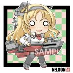 1girl blonde_hair character_name checkered checkered_background commentary_request flower full_body grey_legwear headgear kantai_collection long_hair machinery mayuki_(nami1120) military military_uniform nelson_(kantai_collection) o_o red_flower red_rose rose sample solo standing thigh-highs turret twitter_username uniform