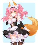 1girl \n/ animal_ears apron bangs black_bow black_dress blue_background blush bow bow_panties breasts brown_legwear closed_mouth commentary_request cowboy_shot detached_sleeves dress eyebrows_visible_through_hair fate/grand_order fate_(series) fox_ears fox_girl fox_tail frilled_apron frilled_legwear frills hair_between_eyes highres large_breasts long_hair long_sleeves maid maid_headdress panties pink_hair pleated_dress shiosoda sleeveless sleeveless_dress smile solo tail tamamo_(fate)_(all) tamamo_no_mae_(fate) thigh-highs twintails two-tone_background underwear waist_apron white_apron white_background white_panties yellow_eyes