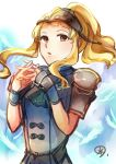1girl blonde_hair brown_eyes clair_(fire_emblem) feathers fire_emblem fire_emblem_echoes:_mou_hitori_no_eiyuuou helmet highres interlocked_fingers long_hair nintendo parted_lips ponytail shoulder_armor solo yukimiyuki