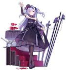 1girl ajax_(azur_lane) alcohol alternate_costume arm_up azur_lane bangs bare_shoulders black_bow black_dress black_footwear black_hat blush bow breasts bridal_gauntlets brown_legwear cannon crossed_legs cup dress dress_lift drinking_glass eyebrows_visible_through_hair floating_hair flower full_body hair_bow hat hat_flower head_tilt high_heels holding holding_cup kaede_(003591163) legs_crossed lifted_by_self long_hair long_sleeves mini_hat mini_top_hat official_art one_eye_closed pantyhose parted_lips pouring purple_flower purple_hair purple_rose rose see-through shoes small_breasts smile smirk stairs standing strapless strapless_dress striped table tilted_headwear top_hat transparent_background tsurime turret two_side_up vertical-striped_hat vertical_stripes very_long_hair violet_eyes watson_cross wine wine_glass