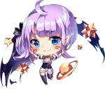 1girl :3 ahoge artist_name big_head black_bow black_choker black_legwear blue_eyes blush bow breasts chibi choker closed_mouth commentary detached_sleeves english_commentary full_body hair_bow head_tilt heart heart_in_eye long_hair one_side_up original planet puffy_short_sleeves puffy_sleeves purple_hair short_shorts short_sleeves shorts small_breasts solo space squchan star striped striped_bow symbol_in_eye thigh-highs transparent_background underbust watermark web_address whisker_markings white_shorts