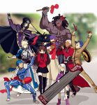 4boys 5girls ahoge anger_vein archer armor armored_dress artoria_pendragon_(all) bangs berserker black_gloves black_hair black_legwear black_skirt blonde_hair blue_bodysuit blue_hair blurry bodysuit bow bracer cape caster child cloak coat commentary_request covering_ears dark_skin dark_skinned_male depth_of_field dizi dress drum erhu faceless fate/stay_night fate_(series) gauntlets gloves hair_bow hair_bun hair_ribbon hat homurahara_academy_uniform hood hooded_cloak instrument lancer long_hair long_skirt long_sleeves matou_sakura matou_shinji meme multiple_boys multiple_girls music open_mouth parody pauldrons pink_footwear pipa_(instrument) playing_instrument ponytail purple_hair purple_ribbon red_bow red_coat ribbon saber school_uniform short_hair shoulder_armor skirt suona tagme thigh-highs tohsaka_rin trench_coat trumpet trumpet_boy twintails two_side_up white_hair white_skirt yaoshi_jun zettai_ryouiki