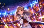 1girl artist_request bangs belt blunt_bangs blush brown_hair confetti earrings eyebrows frills hair_bun hair_ornament highres holding holding_microphone idol idolmaster idolmaster_cinderella_girls idolmaster_cinderella_girls_starlight_stage jacket jewelry kamiya_nao lace lights long_hair long_sleeves looking_at_viewer microphone midriff navel official_art red_eyes ring shorts smile solo stage standing sweat thick_eyebrows wavy_hair