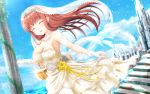 1girl 2018 amatsu_kanata arm_strap artist_name bangs bare_shoulders basket blue_sky breasts bridal_veil bride brown_hair choker church cleavage closed_eyes clouds collarbone commentary_request dated day dress eyebrows eyebrows_visible_through_hair flower girlfriend_(kari) gloves highres holding holding_basket jewelry large_breasts long_hair masa_(mirage77) medium_breasts necklace open_mouth outdoors partial_commentary petals rose sky smile solo stairs standing strapless strapless_dress veil wallpaper wedding wedding_dress white_choker white_dress white_gloves white_neckwear yellow_flower yellow_rose