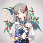 1girl animal bangs blue_bow blue_dress blue_eyes blue_hair blue_nails bow breasts closed_mouth commentary dress earrings eyebrows_visible_through_hair fingernails flower gradient_hair grey_hair hair_flower hair_ornament hakusai_(tiahszld) head_tilt holding holding_flower jewelry multicolored_hair nail_polish original puffy_short_sleeves puffy_sleeves see-through see-through_sleeves shirt short_sleeves small_breasts solo striped symbol_commentary vertical-striped_dress vertical_stripes whale white_bow white_flower white_shirt