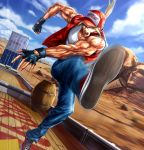1boy barrel baseball_cap blonde_hair blue_eyes blue_sky clouds commentary_request container denim desert dutch_angle fatal_fury fingerless_gloves gloves ground_vehicle hat highres jacket jeans kicking l.g_(greenforce1) long_hair looking_at_viewer male_focus mount_rushmore mountainous_horizon muscle open_mouth outdoors pants ponytail shoes sky sneakers snk solo tank_top terry_bogard the_king_of_fighters train vest white_tank_top wooden_floor