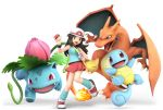 1girl 3d absurdres bag bare_shoulders blue_(pokemon) blue_tank_top brown_hair charizard creatures_(company) fire flower game_freak gen_1_pokemon hat highres huge_filesize ivysaur leg_warmers long_hair looking_at_viewer nintendo official_art open_mouth poke_ball pokemon pokemon_(creature) pokemon_(game) pokemon_frlg pose shell shoes skirt sleeveless smile sneakers solo squirtle super_smash_bros. super_smash_bros_ultimate tail tank_top tentacle transparent_background wings