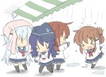 >_< 4girls akatsuki_(kantai_collection) anchor_symbol black_legwear blue_sailor_collar blue_skirt brown_hair chibi closed_eyes commentary_request flat_cap folded_ponytail hat hibiki_(kantai_collection) hizuki_yayoi ikazuchi_(kantai_collection) inazuma_(kantai_collection) kantai_collection kneehighs multiple_girls neckerchief pantyhose pink_towel pleated_skirt purple_hair rain red_neckwear sailor_collar short_hair silver_hair skirt thigh-highs towel towel_on_head wet wet_clothes |_|