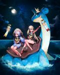 2girls animal animal_on_head barefoot chimecho clouds creatures_(company) ditto full_moon game_freak gen_1_pokemon gen_2_pokemon gen_3_pokemon hat holding holding_animal lapras light_brown_hair long_hair long_sleeves looking_at_another low_twintails mew moon multiple_girls night night_sky nintendo on_head p_(exuw7334) pichu pokemon pokemon_(creature) purple_hair purple_skirt skirt sky sleeveless smile star star_(sky) starry_sky twintails very_long_hair violet_eyes water white_neckwear yellow_eyes