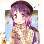 1girl beret blush chair closed_mouth cup drinking_glass drinking_straw eating eyebrows_visible_through_hair hat hinata_yukari long_hair looking_at_viewer purple_hair sitting smile solo sweater tatsunokosso violet_eyes yuyushiki