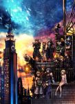 4girls 6+boys against_wall animal_ears aqua_(kingdom_hearts) axel_(kingdom_hearts) black_coat black_coat_(kingdom_hearts) black_hair blonde_hair blue_eyes building city clock clock_tower coat commentary detached_sleeves disney donald_duck dress gargoyle goofy hat highres hood hoodie kairi_(kingdom_hearts) keyblade kingdom_hearts kingdom_hearts_iii ladder looking_to_the_side mickey_mouse mouse_ears mouse_tail multiple_boys multiple_girls namine nomura_tetsuya official_art over_shoulder redhead riku roxas serious short_dress sitting skyscraper smile sora_(kingdom_hearts) spiky_hair square_enix standing strap tail terra_(kingdom_hearts) tower twilight ventus weapon weapon_over_shoulder xion_(kingdom_hearts)