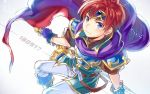 1boy blue_eyes cape fire_emblem fire_emblem:_fuuin_no_tsurugi gloves headband holding holding_sword holding_weapon looking_at_viewer nintendo redhead roy_(fire_emblem) smile solo sword weapon yuki_(yuki2061)