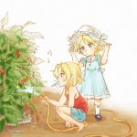 2girls adjusting_clothes adjusting_hat barefoot beamed_eighth_notes black_footwear blue_dress blue_ribbon blue_shorts closed_mouth cup darjeeling dress eighth_note english food food_in_mouth frilled_dress frills from_side girls_und_panzer hat hat_ribbon holding holding_cup holding_hose hose kay_(girls_und_panzer) looking_at_another mary_janes medium_dress multiple_girls musical_note outdoors plant popsicle puffy_short_sleeves puffy_sleeves red_shirt ribbon shirt shoes short_sleeves shorts socks soramame_(corndog) squatting standing straw_hat sun tank_top watering white_hat white_legwear younger