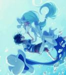 blue_eyes blue_hair capri_pants creatures_(company) game_freak gen_7_pokemon hair_ornament komasawa_(fmn-ppp) long_hair mermaid monster_girl nintendo open_mouth pants pokemon pokemon_(creature) pokemon_(game) pokemon_sm primarina sea_lion shirt striped striped_shirt underwater very_long_hair you_(pokemon)