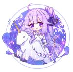1girl ahoge akiya_doubao alicorn animal azur_lane bangs black_ribbon blush character_name chibi closed_mouth commentary detached_sleeves dress eyebrows_visible_through_hair hair_bun hair_ribbon head_tilt long_hair long_sleeves looking_at_viewer lowres one_side_up purple_hair ribbon side_bun sleeveless sleeveless_dress smile solo sparkle symbol_commentary unicorn_(azur_lane) very_long_hair violet_eyes white_dress