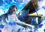 1girl bang_dream! bangs black_hair blue_dress blue_flower blue_gloves blue_rose closed_eyes commentary_request day dress elbow_gloves fingerless_gloves flower frilled_dress frills gloves grand_piano hair_blowing instrument long_hair music open_mouth outdoors pearl petals piano playing_instrument playing_piano rose shirokane_rinko smile solo tsurugi_hikaru