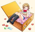 1girl berisuno_(beriberi0707) black_legwear blue_neckwear blue_skirt blush bow bowtie box brown_hair commentary_request covering_mouth envelope heart highres holding_envelope in_box in_container kneehighs koizumi_hanayo looking_at_viewer love_live! love_live!_school_idol_project miniskirt no_shoes otonokizaka_school_uniform short_hair short_sleeves sitting skirt solo sparkle striped_neckwear sweater_vest tan_background violet_eyes