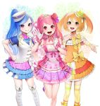 3girls :d absurdres ascot blue_hair blush boots bow capelet choker detached_sleeves double_stripe eyebrows_visible_through_hair flower glint gloves hair_flower hair_ornament hand_on_hip hand_up hat highres knee_boots layered_skirt long_hair looking_at_viewer mini_hat multiple_girls musical_note ohisashiburi open_mouth orange_hair pink_bow pink_choker pink_eyes pink_hair pink_skirt pleated_skirt puffy_short_sleeves puffy_sleeves purple_flower red_flower round_teeth short_sleeves skirt smile socks standing standing_on_one_leg striped striped_legwear teeth thigh-highs tiara tilted_headwear twintails vest violet_eyes waving white_capelet white_footwear white_gloves white_hat white_vest wristband yellow_bow yellow_eyes yellow_legwear