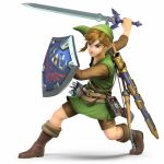1boy 3d arrow belt blue_eyes bow elf green_hat hat highres link master_sword nintendo official_art pointy_ears quiver sheath sheikah_slate shield super_smash_bros. super_smash_bros_ultimate sword the_legend_of_zelda the_legend_of_zelda:_twilight_princess weapon