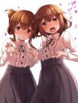 2girls absurdres alternate_costume black_skirt blush breasts brown_eyes brown_hair closed_mouth eyebrows_visible_through_hair hair_between_eyes hair_ornament hairclip highres ikazuchi_(kantai_collection) inazuma_(kantai_collection) kantai_collection long_skirt long_sleeves looking_at_viewer medium_hair multiple_girls nicoby open_mouth shirt short_hair_with_long_locks simple_background skirt small_breasts white_background
