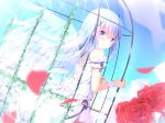 1girl :o bangs bare_shoulders blue_eyes blue_hair blue_sky blush cage commentary_request cross-laced_clothes day dress dutch_angle eyebrows_visible_through_hair feathered_wings flower gochuumon_wa_usagi_desu_ka? hair_between_eyes hair_ornament holding in_cage kafuu_chino kouda_suzu long_hair looking_at_viewer looking_to_the_side outdoors parted_lips petals red_flower red_rose rose rose_petals sky sleeveless sleeveless_dress solo transparent_wings very_long_hair white_dress wings wrist_cuffs x_hair_ornament