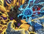 2boys alien battle claws cybertron don_figueroa duel electricity energy glowing glowing_eyes green_eyes horns mecha multiple_boys no_humans oldschool pinkuh planet primus robot science_fiction space transformers unicron yellow_eyes