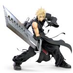 1boy 3d absurdres alternate_costume asymmetrical_clothes black_gloves blonde_hair blue_eyes cloud_strife final_fantasy final_fantasy_vii final_fantasy_vii_advent_children gloves highres huge_filesize huge_weapon looking_at_viewer nintendo official_art pose serious solo spiky_hair super_smash_bros. super_smash_bros_ultimate sword transparent_background weapon