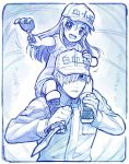 1boy 1girl :d baseball_cap blue boots border carrying child closed_mouth commentary_request gloves hair_between_eyes hair_over_one_eye hat hataraku_saibou holding holding_weapon jacket long_hair looking_at_viewer monochrome open_mouth platelet_(hataraku_saibou) reverse_grip round_teeth sakino_shingetsu shirt short_sleeves shorts shoulder_carry smile teeth weapon white_blood_cell_(hataraku_saibou)