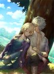 1boy 1girl bangs blonde_hair blush closed_eyes cordelia_ravus dress gloves hair_between_eyes hair_over_one_eye octopath_traveler short_hair sleeping therion_(octopath_traveler) tree white_hair yuzuponza