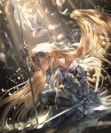 1girl arm_up armor armored_dress azomo bangs black_legwear blonde_hair closed_eyes closed_mouth commentary_request dress dutch_angle eyebrows_visible_through_hair fate/grand_order fate_(series) feathered_wings french_commentary from_side fur-trimmed_legwear fur_trim gauntlets grey_dress hair_wings headpiece highres holding jeanne_d'arc_(fate) jeanne_d'arc_(fate)_(all) long_hair one_knee profile signature solo thigh-highs very_long_hair wings