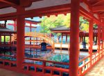 bridge day fish lantern no_humans original outdoors pond railing scenery toichi_(ik07) torii