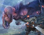 ambiguous_gender anjanath armor armored_boots black_hair blurry blurry_foreground boots cape collared_cape commentary_request day depth_of_field dinosaur dragon fighting_stance fur fuse_ryuuta gauntlets glowing greatsword high_collar holding holding_sword holding_weapon huge_weapon hunter_(armor) knife knife_holster looking_at_another monster_hunter monster_hunter:_world open_mouth outdoors pants scales sharp_teeth short_hair size_difference slit_pupils standing sword teeth tree weapon yellow_eyes