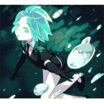 1other androgynous black_gloves black_neckwear black_shorts collared_shirt crystal_hair elbow_gloves gem_uniform_(houseki_no_kuni) gloves green_hair highres houseki_no_kuni looking_at_viewer masuji necktie phosphophyllite puffy_short_sleeves puffy_sleeves shirt short_hair short_shorts short_sleeves shorts solo white_skin